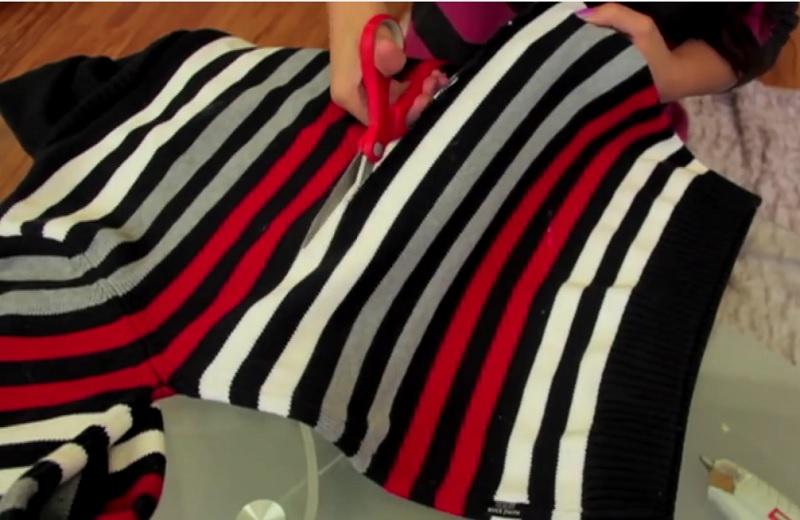elle coupe un vieux pull et en fait un v tement mode son id e est vraiment g niale. Black Bedroom Furniture Sets. Home Design Ideas