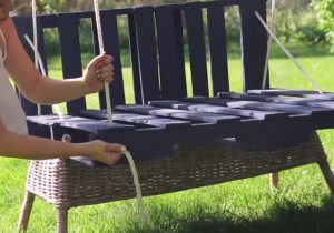 bricolage palette de bois balancoire jardin 3