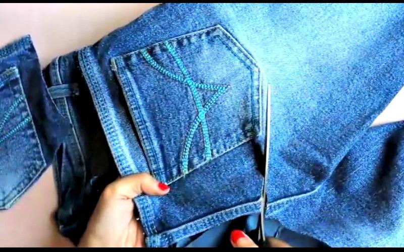 elle d coupe ses vieux jeans et les transforme en un autre. Black Bedroom Furniture Sets. Home Design Ideas