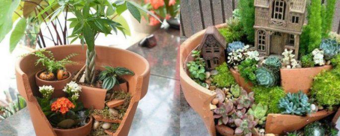 faire jardin miniature pot casse