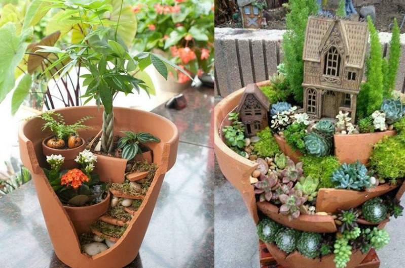 des pots cass s qui deviennent de magnifiques jardins miniatures essayer c est facile. Black Bedroom Furniture Sets. Home Design Ideas