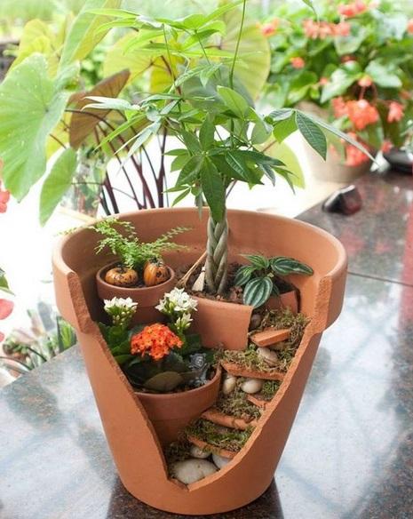 Jardins Miniatures des pots cassés qui deviennent de magnifiques jardins miniatures… À
