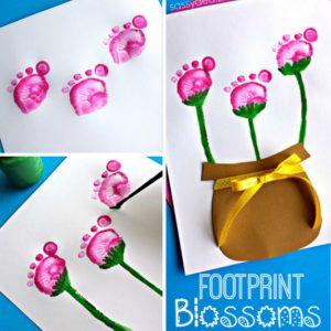 peindre aves les pieds des fleurs