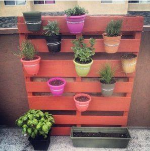 astuce jardin palette pot plante