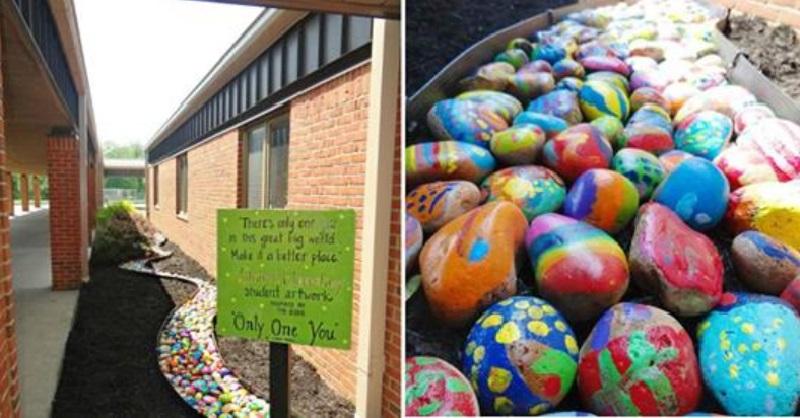 Chaque enfant peint une pierre pour cr er un chemin color ce sera le plus - Chemin de jardin en pierre ...