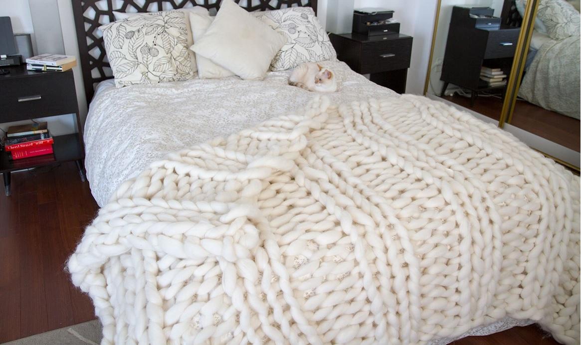 tricoter une couverture grosse maille. stunning pelote de laine
