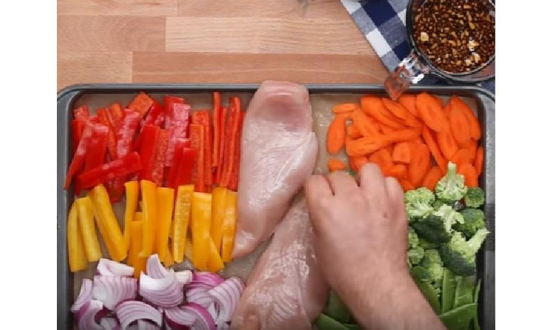 Miam Il Fait Cuire Des Blancs De Poulet Avec Une Foule De Legumes