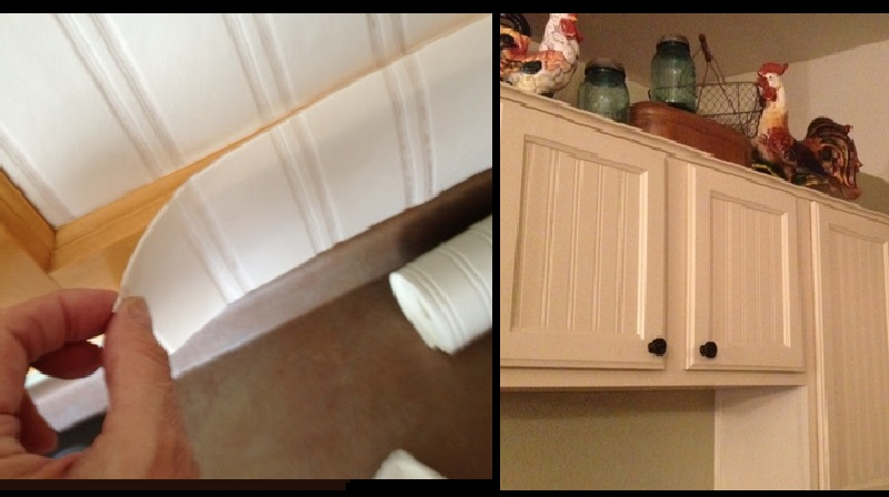 Voici comment r nover des armoires de cuisine avec du papier peint pas cher et tr s joli - Papier renovation a peindre ...