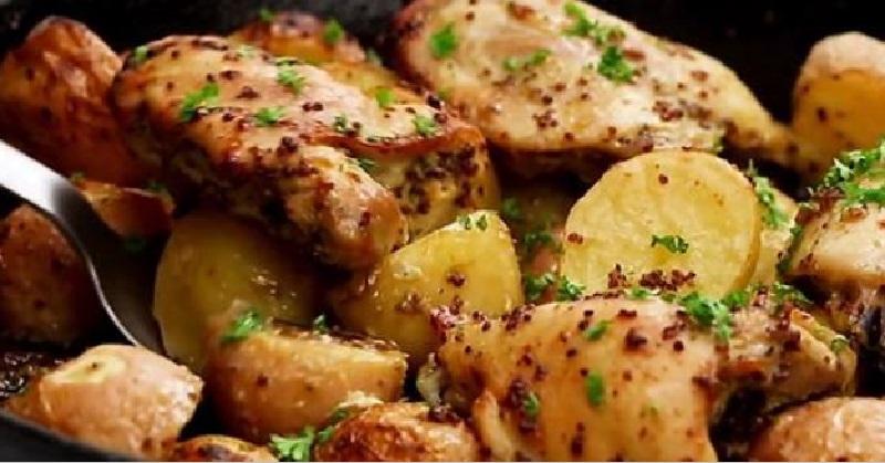 Cuisses de poulet et pommes de terre au four saveur d 39 rable un plat rapide - Cuisse de poulet a la moutarde au four ...