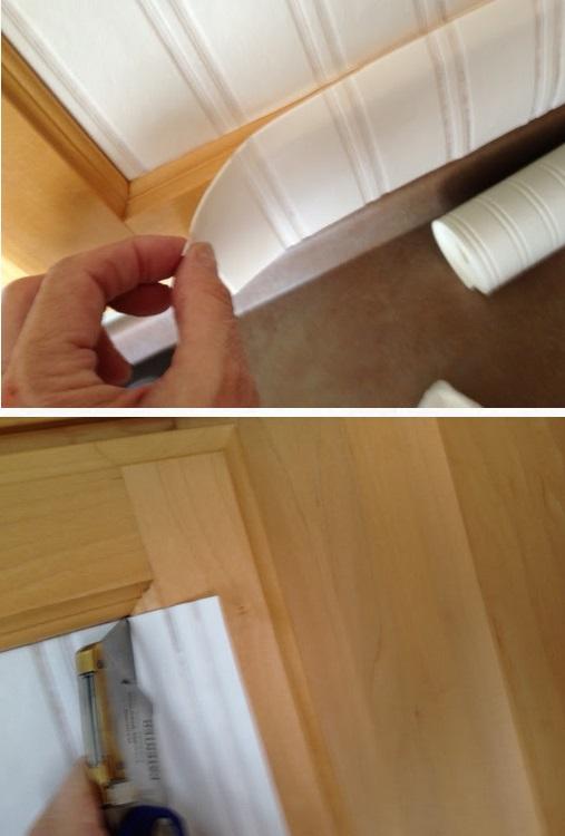 Voici Comment Renover Des Armoires De Cuisine Avec Du Papier Peint