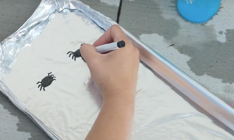 Elle Dessine 2 Araignees Sur Du Papier D Aluminium Un Jeu